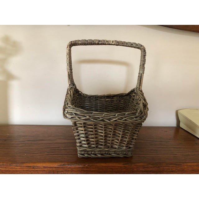 Antique Wicker Basket With Handle For Sale - Image 4 of 12