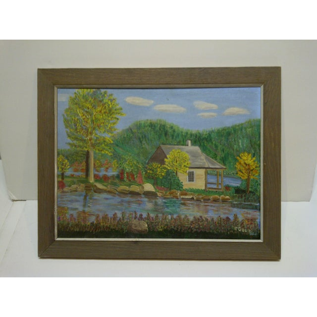 "This is an Original Framed Painting On Board -- Titled ""Cabin By The Water"" -- By F. Cobler."