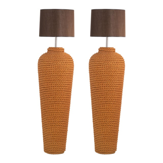 Metal Pair of Monumental Wrapped Rope Floor Lamps For Sale - Image 7 of 7
