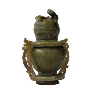 Hand Carved Ancient Style Chinese Jade Stone Double Ring Vase With Dragon Lid Statue Preview