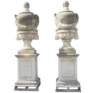 19th Century Louis XVI Limestone Urns - a Pair For Sale
