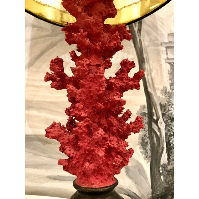 Red Vintage Red Faux Coral Branch Table Lamps - a Pair For Sale - Image 8 of 13