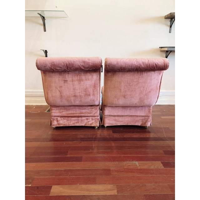 Curvilinear Pink Slipper Chairs- Pair For Sale In Chicago - Image 6 of 13
