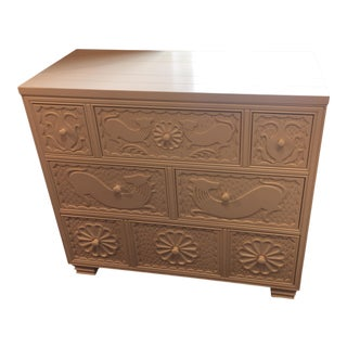 Carved Hickory Chair Painted White Animal Motif Chest For Sale