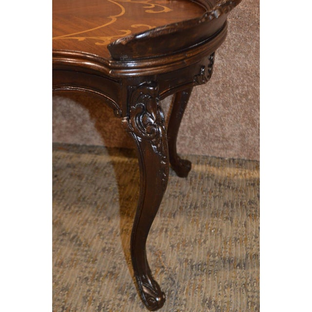 Vintage French Style Carved & Inlaid Petite Cocktail Table For Sale - Image 10 of 11