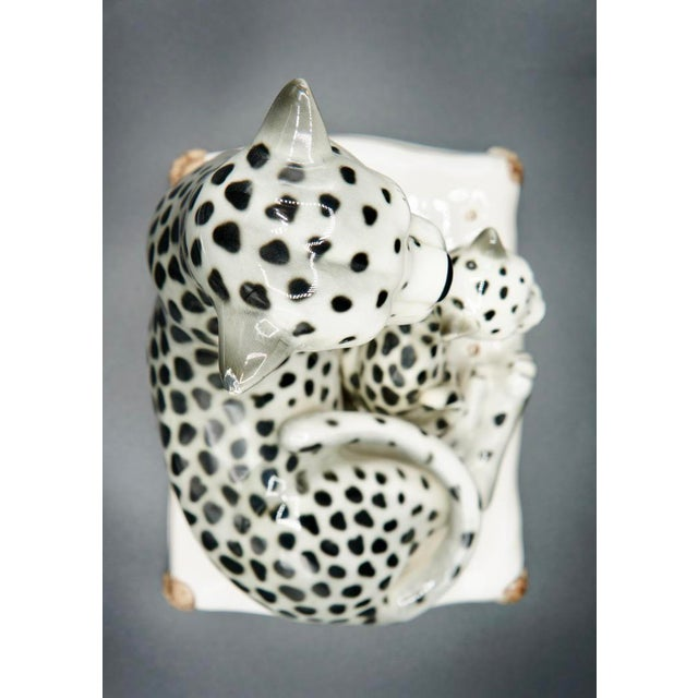 White Italian Hand-Painted Snow Leopards For Sale - Image 8 of 11