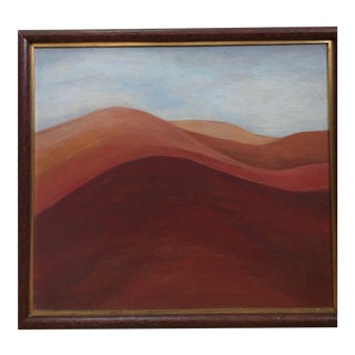 Vintage Mid-Century Abstract Impressionist Landscape Oil Painting