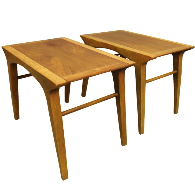 Drexel Profile Walnut Side Tables - A Pair - Image 1 of 6