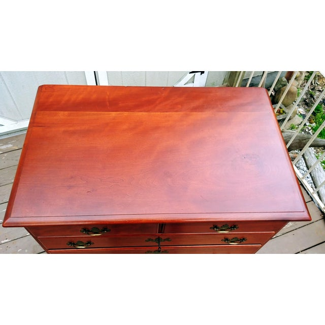 1950s 1950s Traditional Virginia Craftsmen Reproduction Solid Cherry Tall Chest of 6 Drawers For Sale - Image 5 of 13
