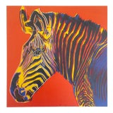 "Image of Andy Warhol Estate Vintage 1992 Endangered Species Lithograph Print "" Grevy's Zebra "" 1983 For Sale"