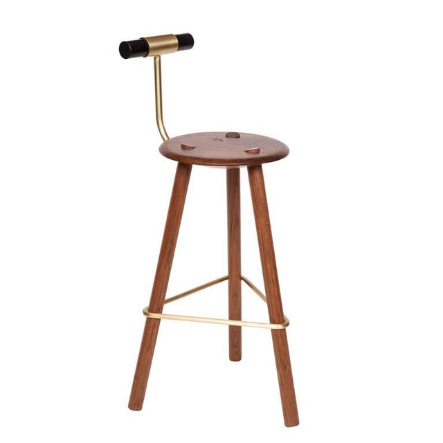 2010s Customizable Erickson Aesthetics Walnut Stool For Sale - Image 5 of 5