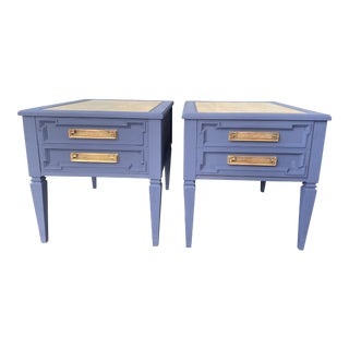 Bespoke Granite Topped End Tables - a Pair For Sale