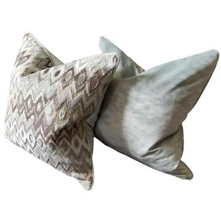 Kravet Couture Modern Contrast/Mineral Fabric Pillows - A Pair For Sale