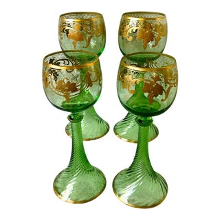 Antique Moser Czech Roemer Wine Goblets - Set of 4 For Sale