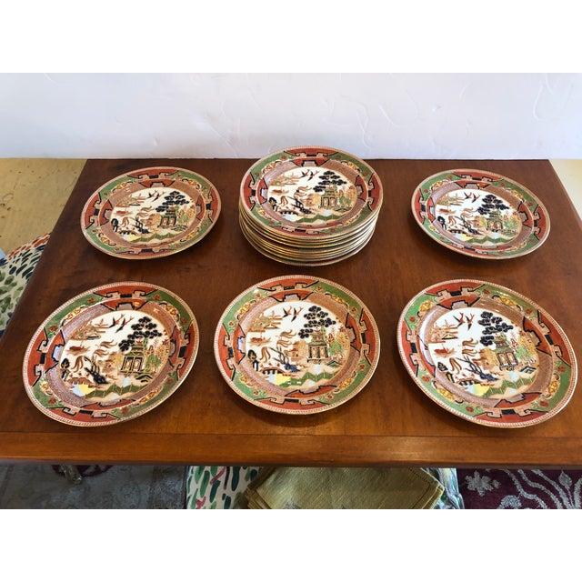 Staffordshire Staffordshire Medium Sized Plates -Set of 14 For Sale - Image 4 of 10