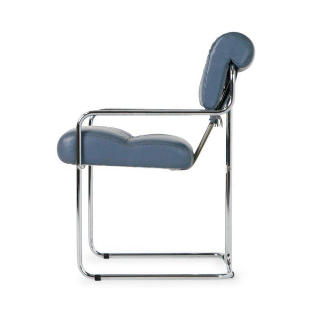 Gray Blue-Grey Leather Tucroma Chair by Guido Faleschini for I4 Mariani- Set of 6 For Sale - Image 8 of 13