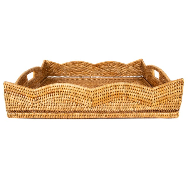 2010s Artifacts Rattan Scallop Collection Square Tray For Sale - Image 5 of 6