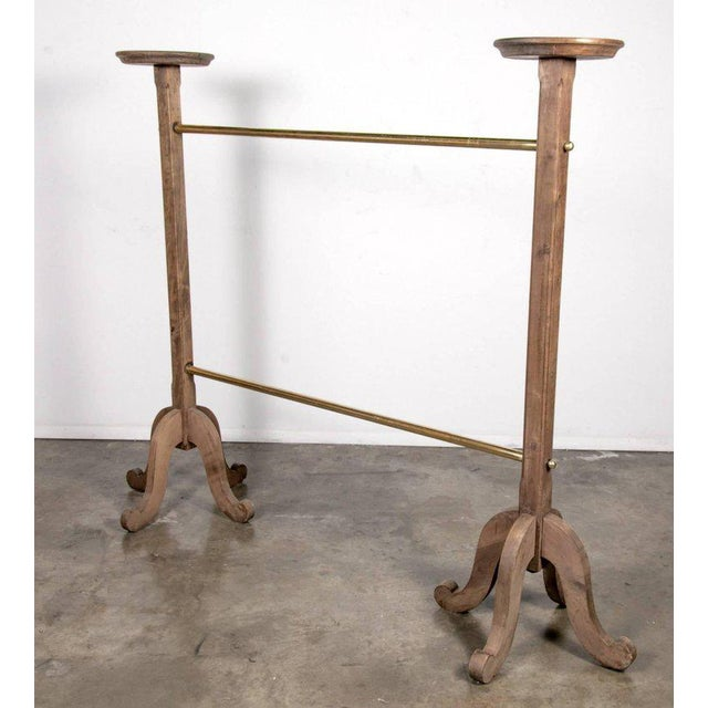 Parisian Brass and Bleached Oak Garment Rack From Galeries Lafayette For Sale In Birmingham - Image 6 of 9