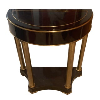 1970s Vintage Mastercraft Dark Java Lacquer and Brass Demilune Console Table For Sale