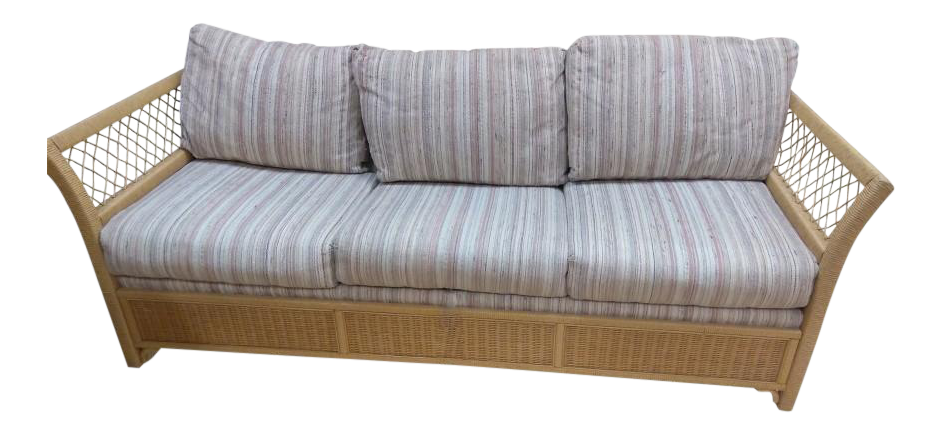 - Woven Wicker Rattan Sleeper Sofa By Henry Link Chairish