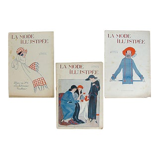 1922 French Illustrated Fashion Magazines, S/3 For Sale