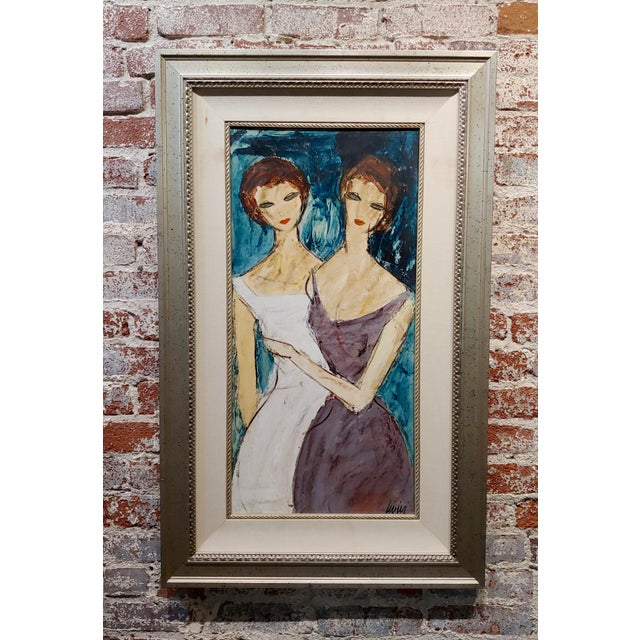 "Charles Levier ""Two Girlfriends"" Oil Painting C.1960s For Sale - Image 9 of 9"