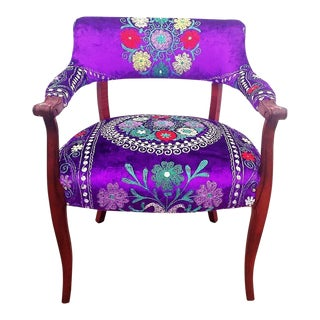 Modern Mid-Century Style Violet Embroidered Armchair For Sale
