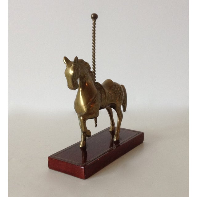 Brass Carousel Horse Accent Bookend For Sale - Image 5 of 9
