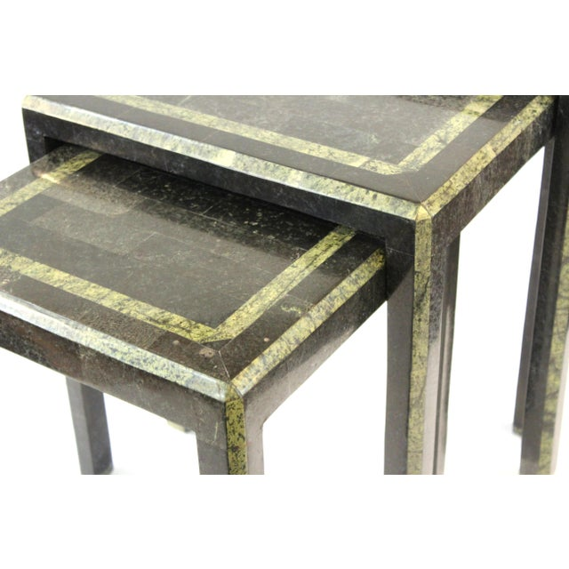Stone Maitland-Smith Modern Nesting Tables in Tessellated Stone - Set of 3 For Sale - Image 7 of 13
