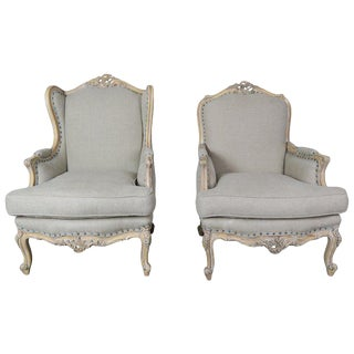 French Louis XV Style Carved Wood Armchairs, His & Her For Sale
