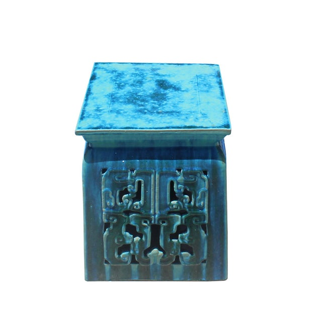 This stool/stand is made of clay and glazed with oriental turquoise blue-green color (#307282 ) with a touch of green. It...