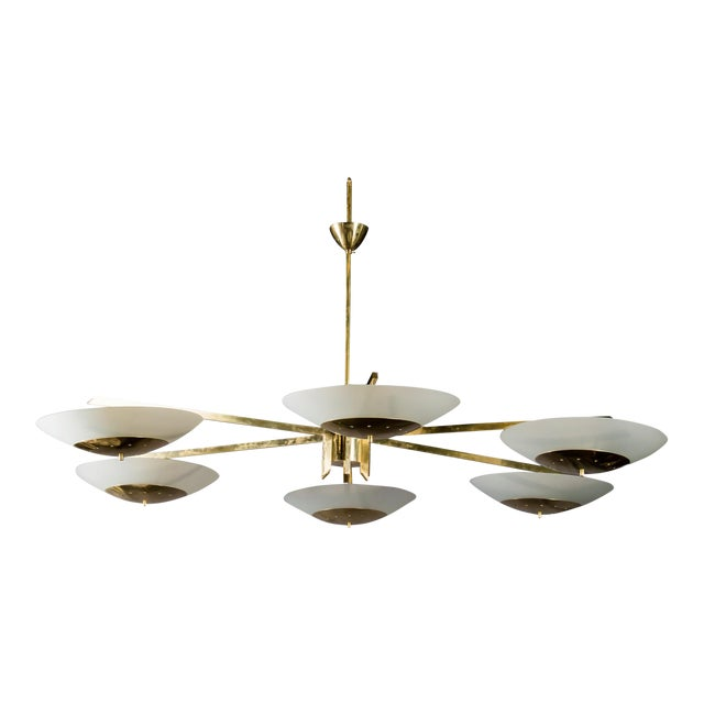 Monumental Italian Mid-Century Brass and White Glass Chandelier - Image 1 of 7