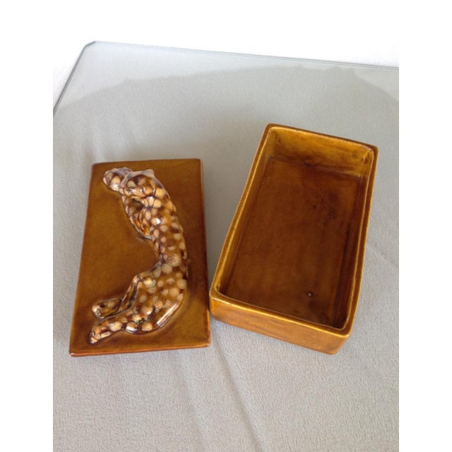 Mid-Century 1940's Pottery Leopard Box by Haeger For Sale - Image 5 of 5