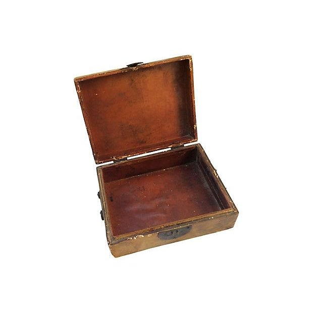 Antique Chinese Portrait Leather Box - Image 5 of 5