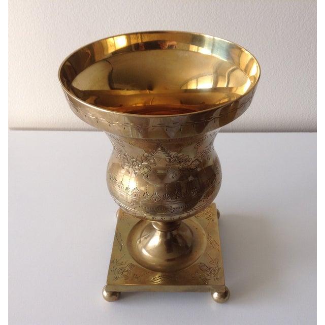 Vintage Large Etched Brass Lidded Urn For Sale - Image 4 of 5