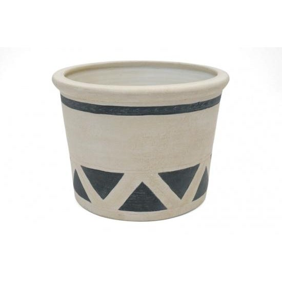 Contemporary Spanish matte glazed jardinere with a black and white geometric pattern.
