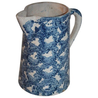 19th Century Design Sponge Ware Pitcher For Sale