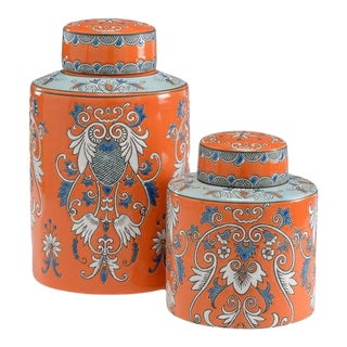 Pair of Persimmon Canisters For Sale