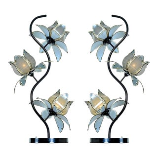 Anthony California Lacquer and Brass Hollywood Regency Etched Glass Floral Lamps For Sale