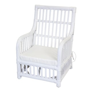 Child's Wicker Lounge Chair with Arms, White For Sale