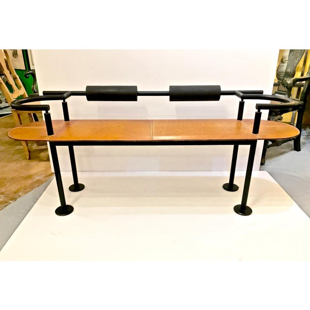 Metal Iron and Saddle Leather Bench by Cy Mann For Sale - Image 7 of 7