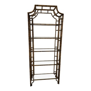 Asian Style Faux Bamboo Etagere For Sale