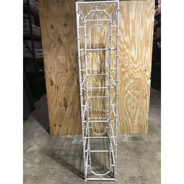 Large Faux Bamboo Iron Étagère in White For Sale In West Palm - Image 6 of 10