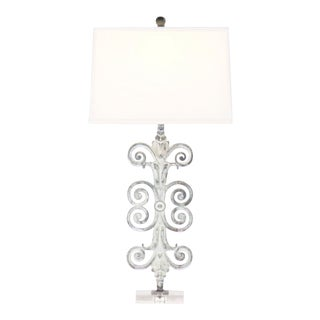 Fleur Scroll Iron Table Lamp With Acrylic Base and Linen Shade For Sale