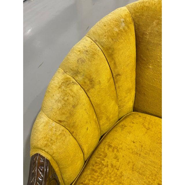 1970s Vintage Yellow Channel Barrel Back Velvet Swan Carved Chair For Sale - Image 4 of 9