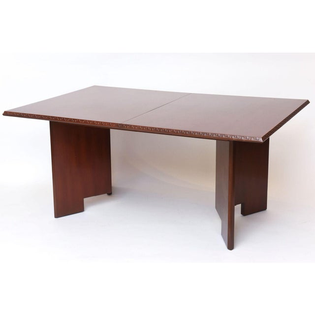 Wood Frank Lloyd Wright Mahogany Extension Dining Table For Sale - Image 7 of 9