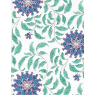 Ferran Ming Rose Fabric, 2 Yards, Sapphire in French Cotton Twill For Sale