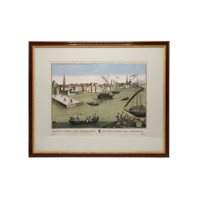 Antique Hand Colored Engraving of the Port of Rotterdam For Sale - Image 9 of 9