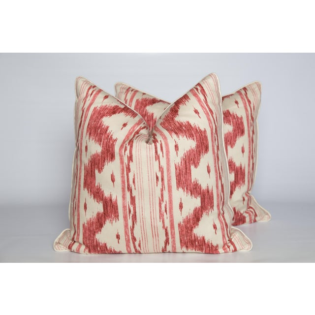 Garnet and Ivory Ikat Linen Pillows, Pair - Image 4 of 4
