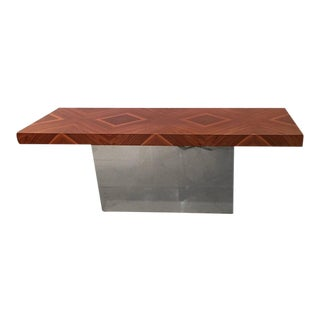 Milo Baughman Chrome & Rosewood Console Table For Sale